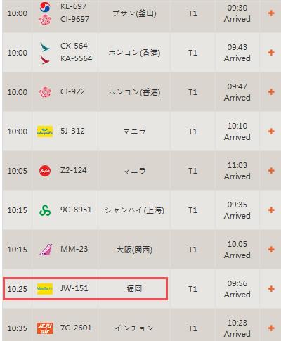 台湾桃園空港の到着便
