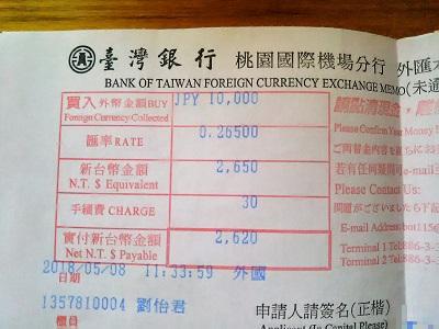 台北駅の郵便局で両替手数料が無料