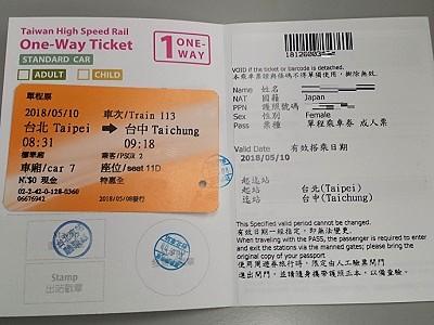 台湾新幹線の外国人割引チケットの受け取り引き換え
