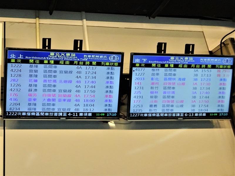 台鉄の台北駅の電光掲示板