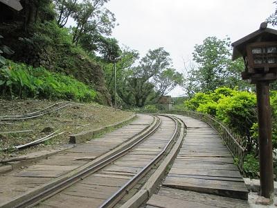 黄金博物館の坑道の線路