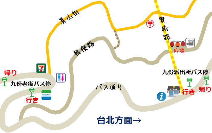 九份のバス停の地図