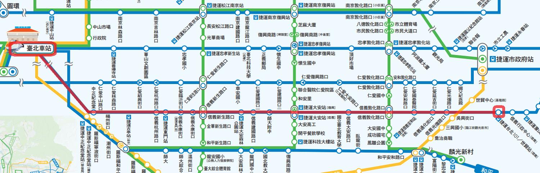 台北駅から台北101までのバス路線図