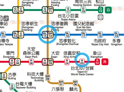 台北101駅から忠孝復興駅