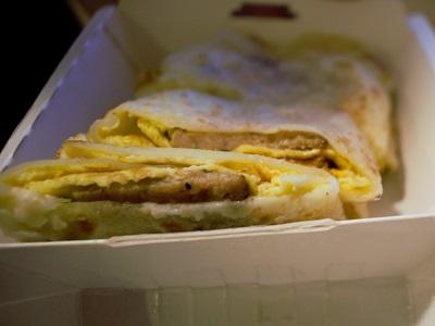 洪記豆漿大王の焼肉蛋餅の中身