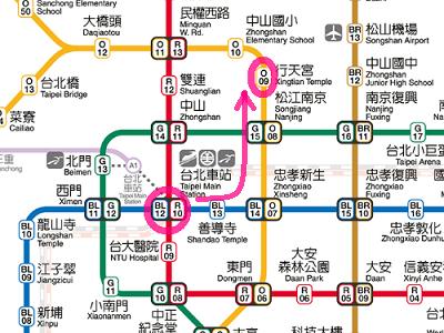台北駅から行天宮駅への行き方