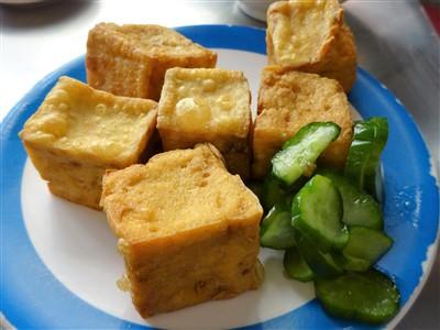 華西街鹹粥店の炸豆腐(揚げ豆腐)