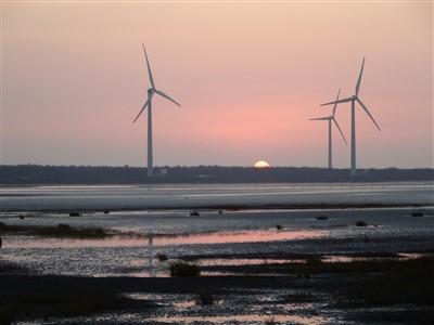 高美湿地の日没